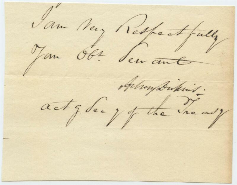1831 US Treasury Department Document Signed Asbury Dickins Acting Secretary