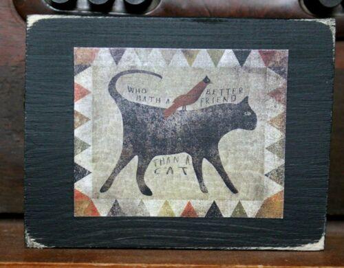 Black Kitty Cat Saying Primitive Farmhouse Wooden Block Shelf Sitter 3.5X4.5