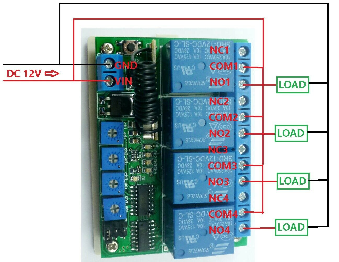 DC 12V 4CH 433M Delay Timer RF Wireless Relay Controller ...