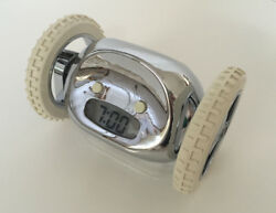 Clocky Alarm Clock Silver with White Wheels - Wake Up and Stay Up!