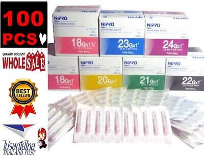 X100 Pcs Nipro Hypodermic Needle Wall Sterile Science Lab Grade A Material