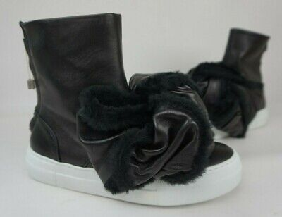 Joshua Sanders Women's Shoes Black Pellame Big Shearling Bow Sneakers Size 37
