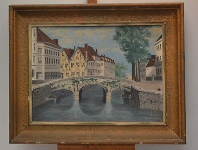 ANTIQUE PAINTING CITY OF CORK ON WOOD NOT CANVAS FRAME PAINTING SIGN OIL