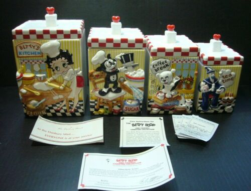 1999 RETIRED 8 PC BETTY BOOP KITCHEN CANISTER SET - HTF - FROM DANBURY MINT