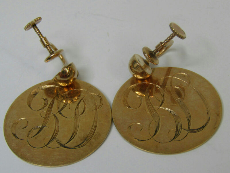 "14K Yellow Gold Jewelry Vintage Screw Back Earrings Monogrammed Discs ""PD"""