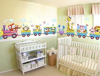 Cute Animal Wall Sticker Monkey Giraffe Tree Train Nursery Baby Kids Room Decor (Giraffe Nursery Decor)