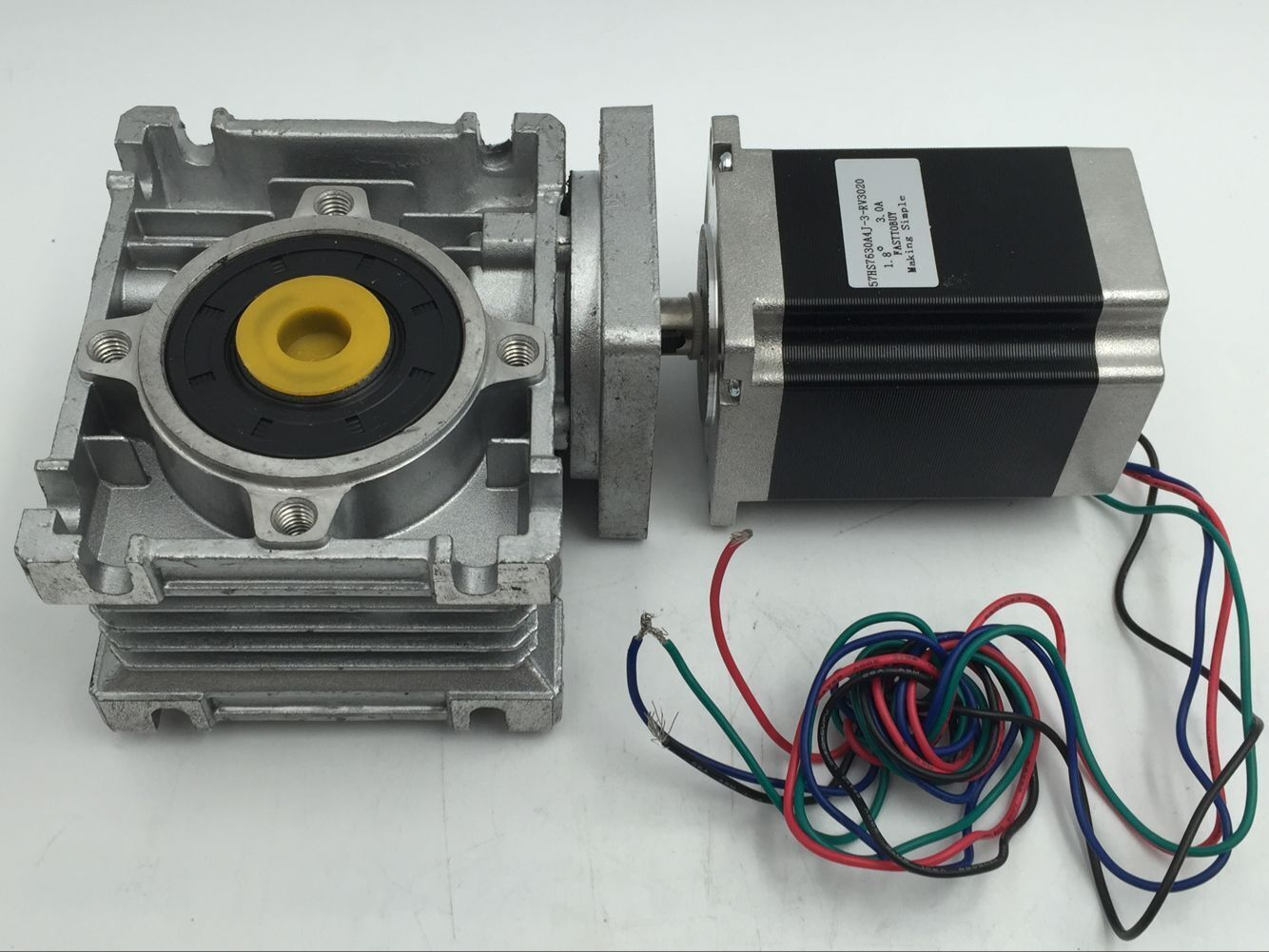Nema23 stepper motor speed reducer with worm gearbox 7 5 1 for Stepper motor gear box