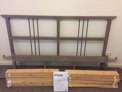 IKEA RYKENE Double Bed Frame Gray Brown