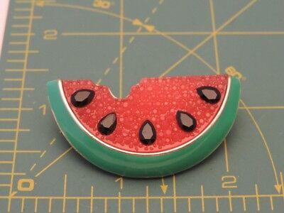 Vtg Sugar Bead Pink Rhinestone Green Enamel Watermelon Slice Brooch Pin Fb 18