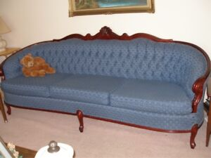 Blue provincial chesterfield and armchair