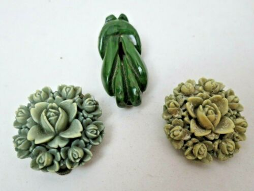 Lot 3 Vintage Green Carved Rose and Art Deco Bakelite Dress Clips A Goodman Co