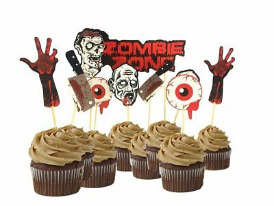9pcs Scary Halloween Party Cupcake Toppers Picks Bloody Zombie for Cupcake Dish - Scary Halloween Cupcakes