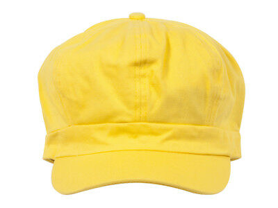 Cotton Elastic Newsboy Cap-Yellow (Yellow Newsboy Cap)