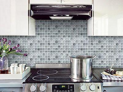 Home Bathroom Kitchen Wall Decor 3D Sticker Wallpaper Tile Mono Crome Backsplash
