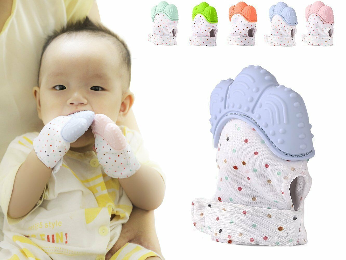 Baby Silicone Teether Mittens Teething Mitten Gloves Wrapper Sound Toys Gifts US