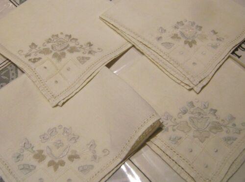 4 Linen Hand M.Embroidered Antique Victorian Napkins