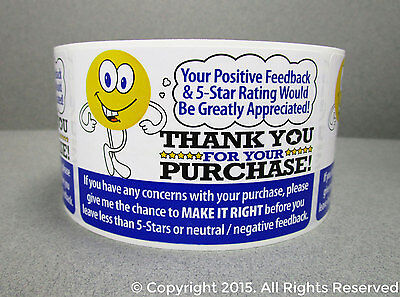 500 Ebay Thank You For Your Purchase 5 Star Rating Fb Shipping Labels Stickers