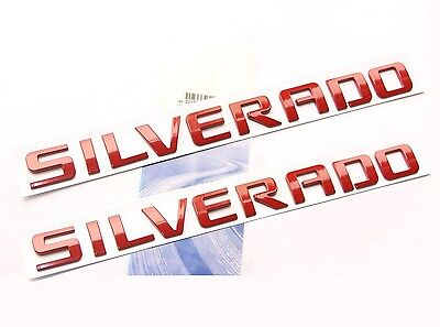 2pcs GENUINE Red SILVERADO Nameplate Emblems Badges 1500 2500HD  Chevrolet YU