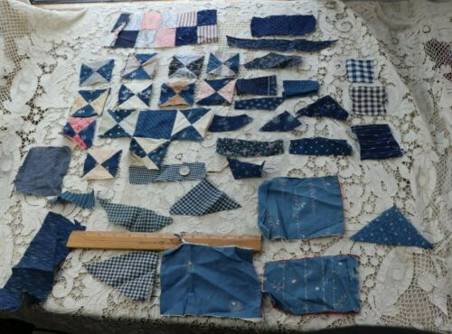 Lot Of 40+ Pieces Of American 19thC Printed Indigo Print Fabrics