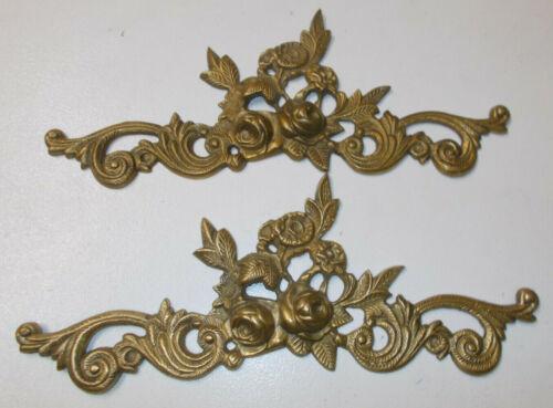 "2 Brass Ormolu Roses  Dresser Hardware Mounts Wall Door Decor 12"" Long"