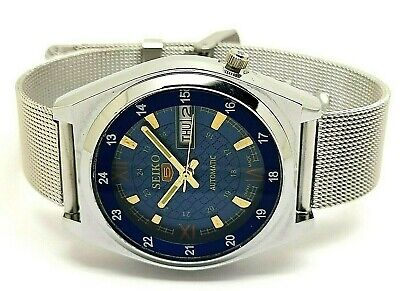 seiko 5 automatic men's steel blue dial 7009 vintage japan watch run r