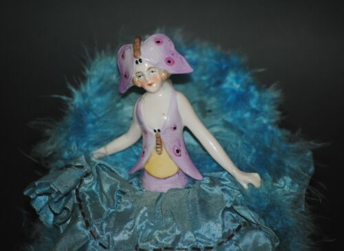ANTIQUE GERMAN FRENCH HALF DOLL PIN CUSHION BOX BUTTERFLY GIRL PORCELAIN FIGURE
