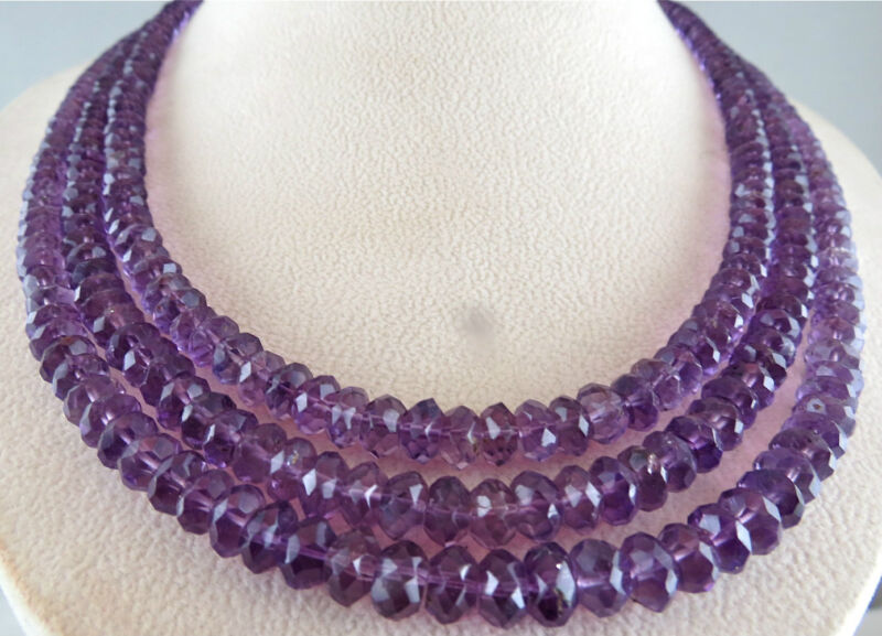 NATURAL AMETHYST BEADS FACETED ROUND 3 STRING 505 CARATS GEMSTONE NECKLACE