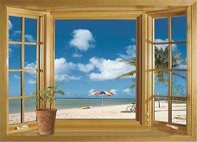 3D Beach Window View Removable Vinyl Decal Wall Sticker Art