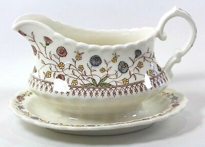 Vernon Kilns Desert Bloom Gravy Boat Attached Liner Hand Painted Excellent