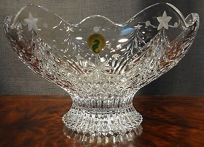"""RARE NEW WATERFORD CHRISTMAS NIGHT FOOTED 10"""" BOWL ~ NEW IN THE BOX"""