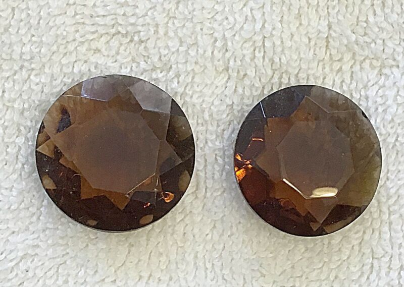 VINTAGE 25MM LARGE FULLY FACETED BROWN GLASS JEWELS - 6 PCS