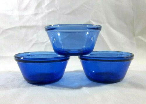 Anchor Hocking Set of 2 Blue Glass 6 oz Custard Cups and 1 Custard Cup #1034