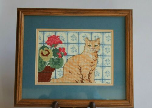 Tabby Cat Geranium Cross Stitch Completed Finished Framed Matted Lee Wards 1994