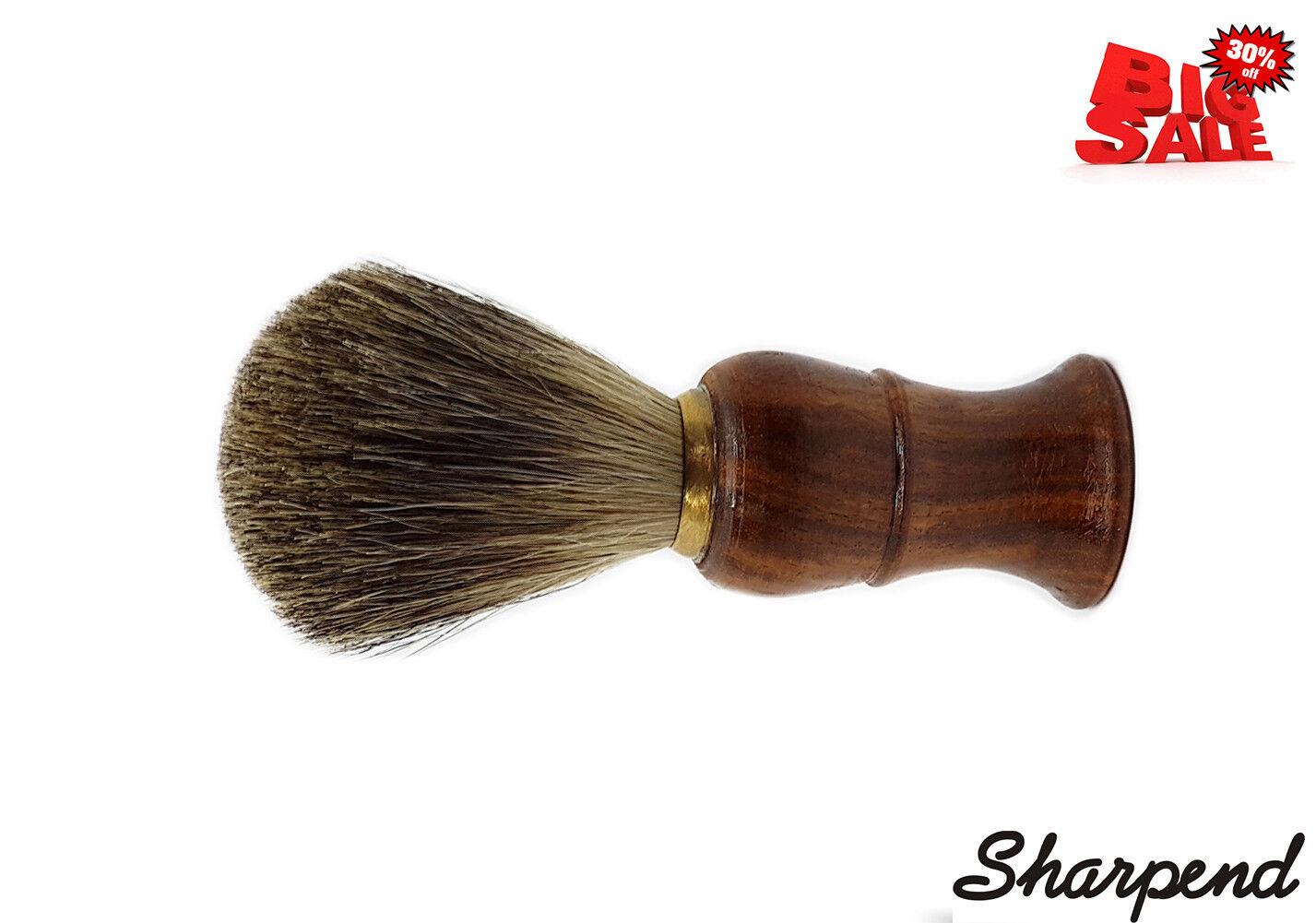 Brown Wooden Handlebar Beard Cream Badger Hair Wet Shaving B