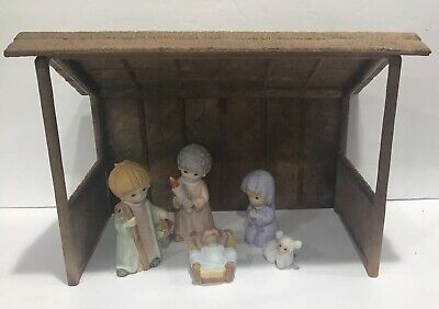 Vintage Children Kid Christmas Porcelain Homco Nativity Scene Set Creche Stable