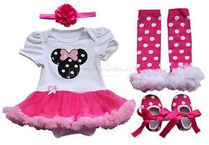 Süßes Baby Overall Bodysuit Strampler Kleidung Kostüm Tütü Kopfband Schuhe Set