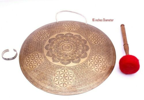 Tibetan Gong-Flower of life carved Handmade gong from Nepal-16 inches Diameter