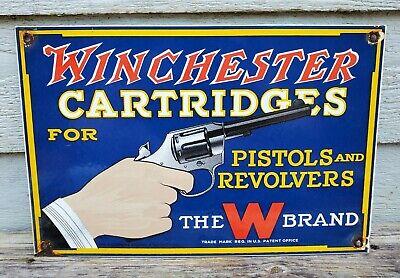 LG 1940'S WINCHESTER CARTRIDGES PORCELAIN ENAMEL SIGN REMINGTON PISTOL REVOLVER