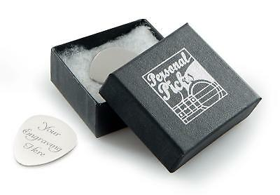 Personalised Silver Guitar Plectrum / Pick with Gift Box CAN BE ENGRAVED