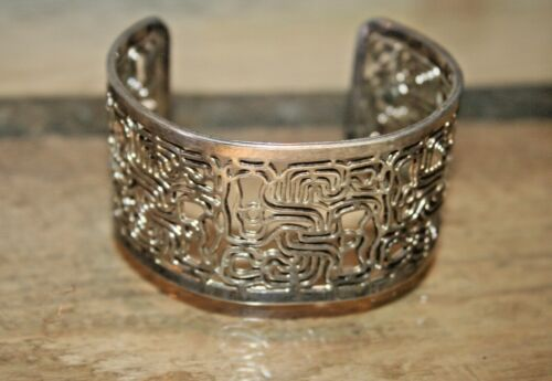 Vintage Modernist Scroll Work Sterling Silver Cuff Bracelet Rare