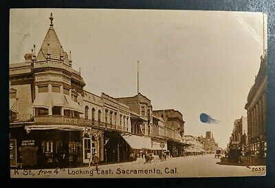 1911 K St 4th Looking East Sacramento CA to Green Bay WI RPPC Cover