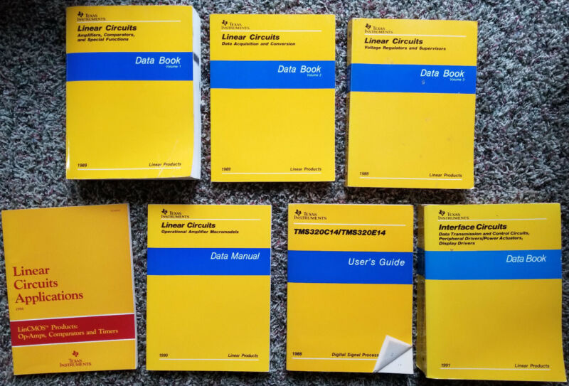 Vintage Texas Instruments Data books - 7 book set, linear, Interface, DSP