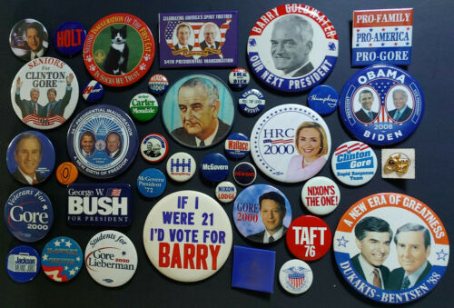 LARGE Political campaign pinback pin back button lot Republican Democrat Vote