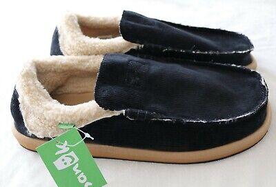 NWT! Sanuk Men's Chiba Chill Black Corduroy Faux Fur Shoes Slip Ons Sz  9 12 13 Corduroy Slip Ons