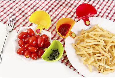 Assorted Salad Sauce Ketchup Jam Dip Clip Cup Bowl Saucer Kitchen Tool 4Pcs LK3C