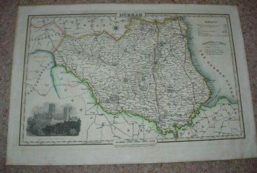 1831 VINTAGE MAP DURHAM PIGOT & SON STEEL ENGRAVING HAND COLOURED