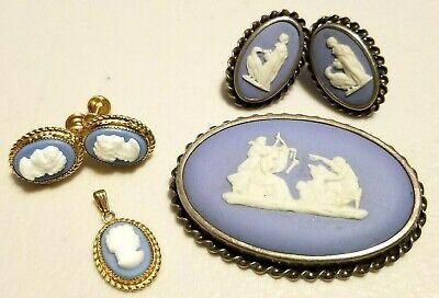 Wedgwood Jasperware Cameo Brooch Charm Earrings Lot Gold Filled & Sterling -
