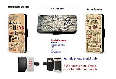 Harry Potter Inspired phone case Happiness quotes logo flip wallet