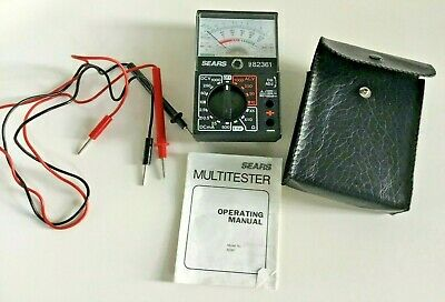 Sears Analog Multitester -model 9-82361 With Case Leads And Manual- Vintage