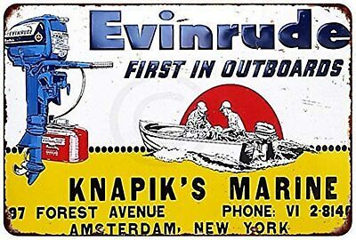 """Evinrude Outboard Motor Boating Fishing Vintage Rustic Retro Metal Sign 8"""" x 12"""""""
